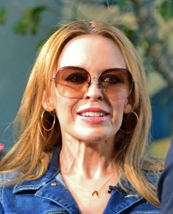 DOUBLE DENIM!! Aussie pop princess Kylie Minogue seen rocking the double denim look while appearing on the 'Extra' TV show hosted by Mario Lopez at the Grove Shopping Centre in Hollywood